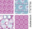 Set of 4 Patchwork Quilt Fabric Patterns - stock photo