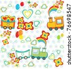 set of pattern of cartoon train with gifts, heart and flowers. - stock vector
