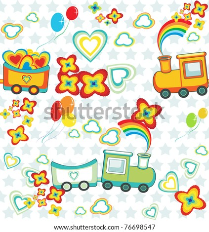 set of pattern of cartoon train with gifts, heart and flowers.