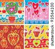 Set of pattern with hearts - stock vector