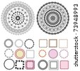 set of patterns and arabesques round frames - stock vector