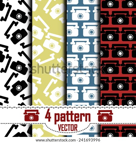 set of patterns, which show a telephone. Hidden under the mask pattern.  - stock vector