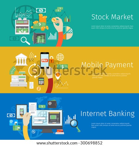 Set of payment concept web banners. Marketing technology, market stock, coin and revenue, bank and earnings, profit and financial. Vector illustration - stock vector