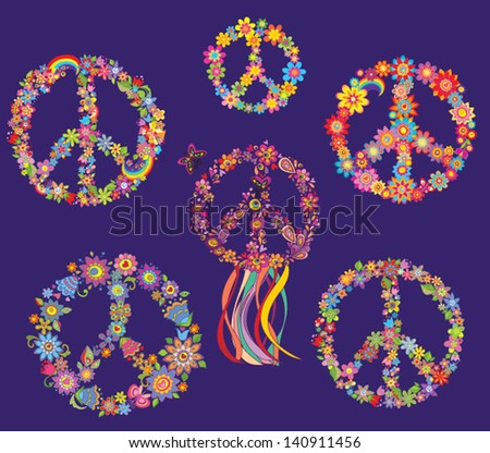 Set of Peace flower symbol - stock vector