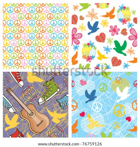 set of peace seamless background - stock vector