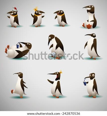 set of Peguins, vector - stock vector