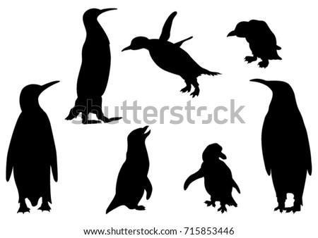 set of penguins silhouettes vector illustration