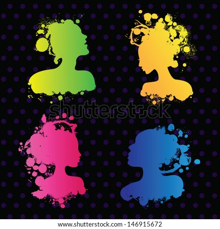 Set of people avatars, built of spots and colorful splashes.  - stock vector