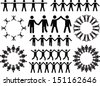 Set of people doing stuff illustrated on white background - stock vector