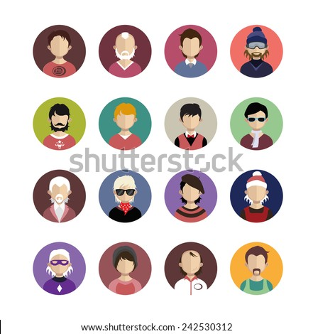 Set of people icons in flat style with faces. Vector women, men character - stock vector