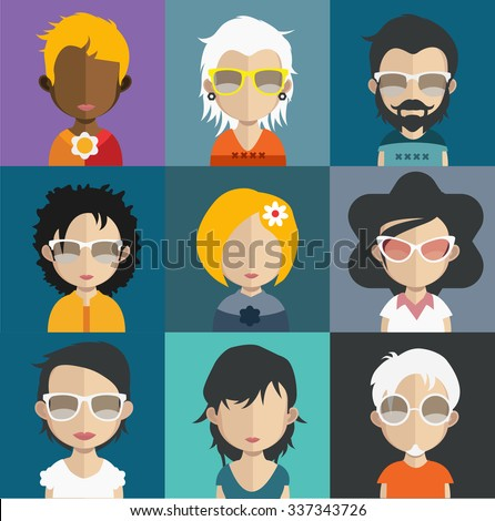 Set of people icons in flat style with faces. Vector women, men character Set 30 a - stock vector