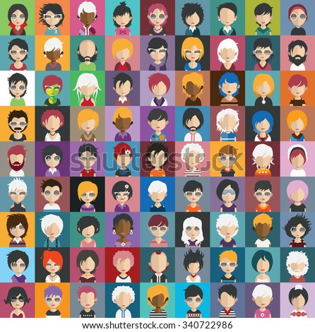 Set of people icons in flat style with faces. Vector women, men character Set 31 a - stock vector