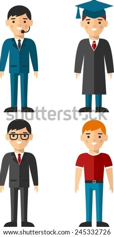 Set of people icons. Occupation avatars in colorful style.  - stock vector