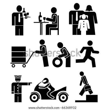Set of people icons. Waiter and visitor restaurant, Family - father, mother and daughter. Man rides a bike. Porter with a trolley. - stock vector