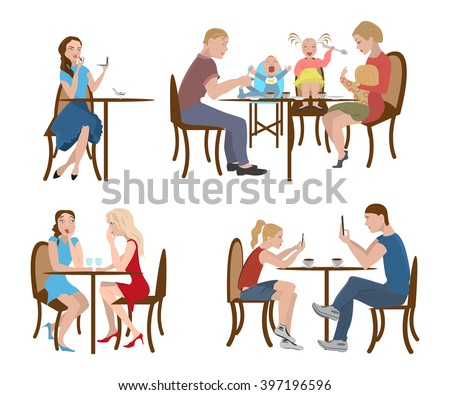Set of people in a cafe for the lunch or dine, family with kids, students using telephone, colleagues is gossiping, vector illustration, eps10 - stock vector
