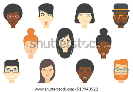 Set of people of various ethnicity expressing diverse facial emotions. Angry young man screaming. Man expressing anger on his face. Set of vector flat design illustrations isolated on white background