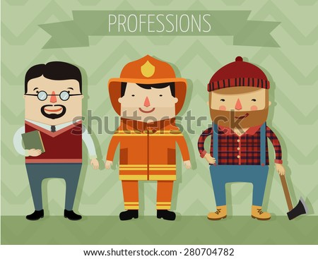 set of people professions. professor, firefighter and lumberjack. flat character design. vector illustration - stock vector