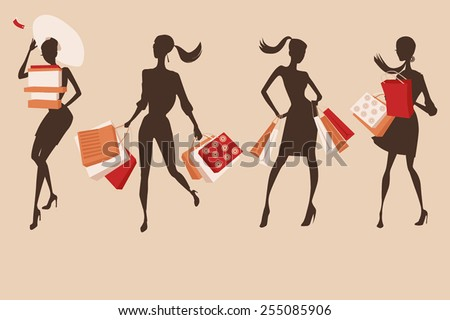 Set of people silhouettes. Happy shopping girls - stock vector