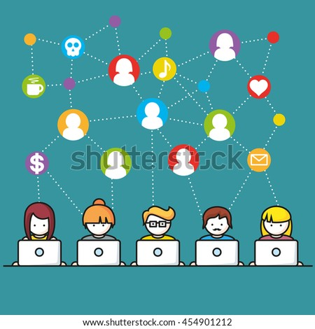 Set of people with computer icons in line style - stock vector