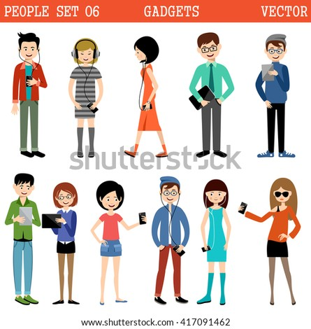 Set of people with gadgets. Vector