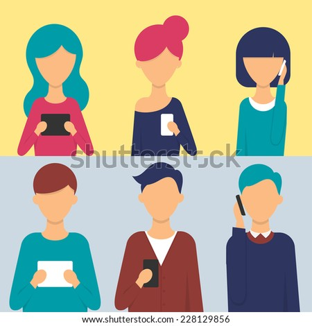 Set of people with tablets and smartphones in their hands. Vector illustration, flat style  - stock vector