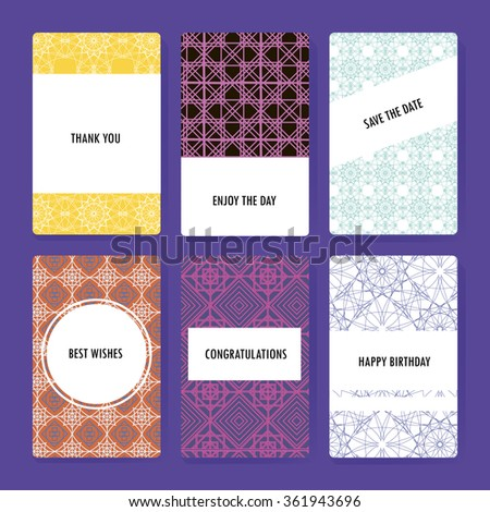 Set of perfect geometric background vector card templates. Ideal for Save The Date, baby shower, mothers day, valentines day, birthday cards, invitations. - stock vector