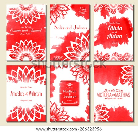 Set of perfect wedding card templates. Ideal for Save The Date, baby shower, mothers day, valentines day, birthday cards, invitations. Vector illustration watercolor design. - stock vector