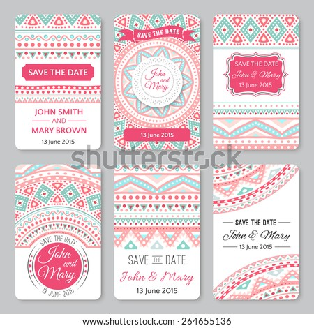 Set of perfect wedding templates with doodles tribal theme. Ideal for Save The Date, baby shower, mothers day, valentines day, birthday cards, invitations. Vector illustration for pretty design. - stock vector