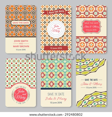 Set of perfect wedding templates with retro pattern theme. Ideal for Save The Date, baby shower, mothers day, birthday cards, invitations. Vector illustration for pretty design. - stock vector
