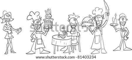 Set of persons in the restaurant, stroke - stock vector