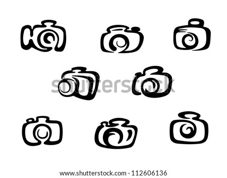 Set of photo camera symbols and icons, such a logo. Jpeg version also available in gallery - stock vector