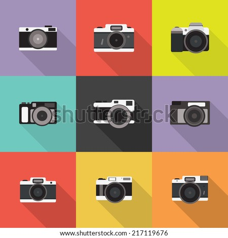 Set of Photo Camera. Vector icon in flat style design. - stock vector