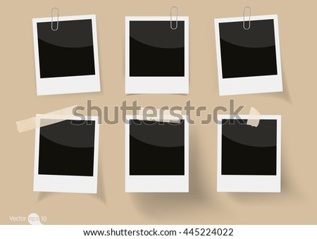 Set of  photo frame with tape - stock vector