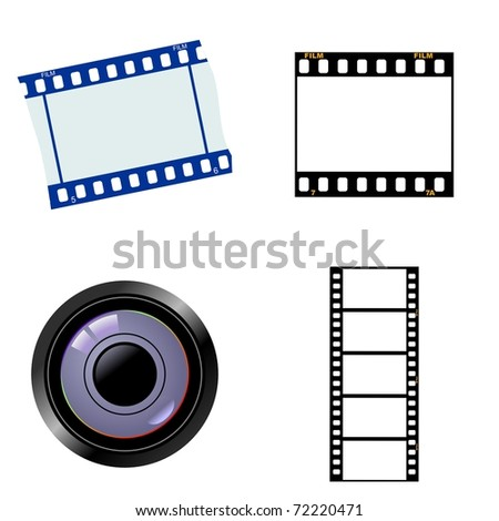 Set of photographic objects. Vector - stock vector