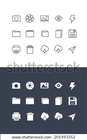 Set of photography thin icons. Normal and enable state. - stock vector