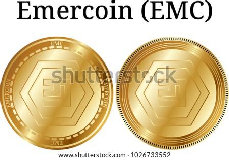 Set Physical Golden Coin Emercoin Emc Stock Vector 1026733552