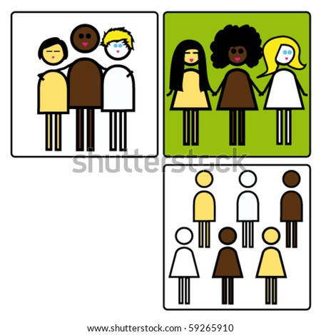 Set of pictogram focus on color of skin. - stock vector