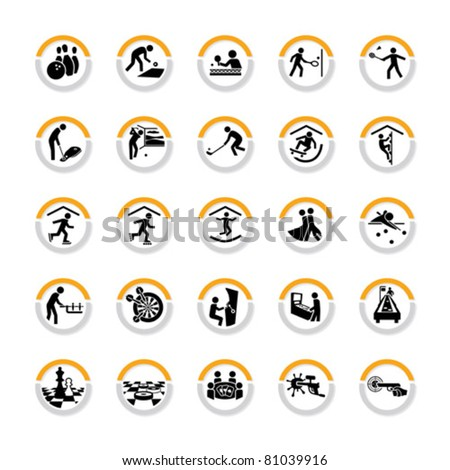 Set of pictograms for indoor sport and leisure activities in semicircles with shadow - stock vector