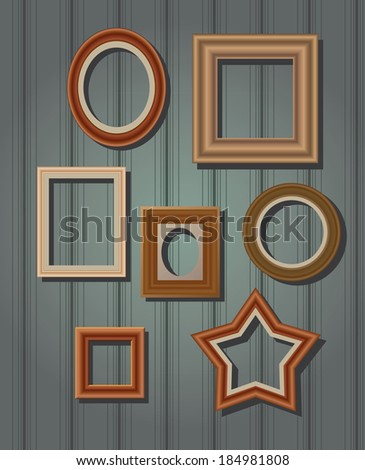 Set Picture Frames On Wall Square Stock Vector 184981808 - Shutterstock