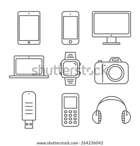 Set of pictures line gadgets. Smartphone, tablet and laptop - stock vector