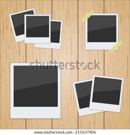 Set of pictures on a wooden texture. Photo frame. polaroid vector - stock vector