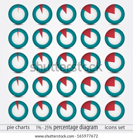 set of pie chart icons with percentage can use like report design elements - stock vector