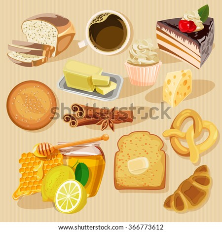 Set of pies and flour products from bakery or pastry shop. Buns, baguettes, bread, pastries, and other baked goods. - stock vector