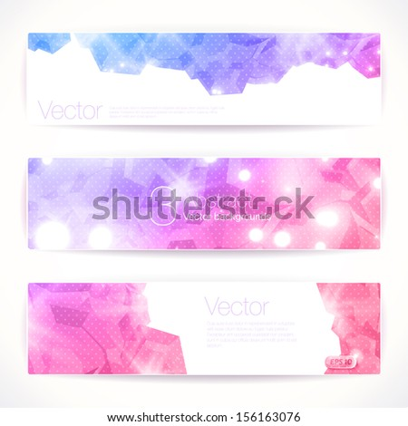Set of pink abstract vector banners. - stock vector