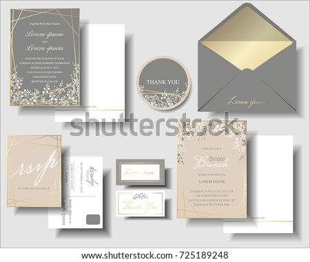 Set pink gray has small flower stock photo photo vector set of pink and gray has a small flower and gold frame wedding invitation card template stopboris Images