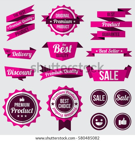 Set Of Pink Badges Labels And Ribbons Flat Design Concept Branding And Sale