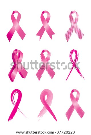 Set of 9 Pink breast cancer awareness ribbons - stock vector