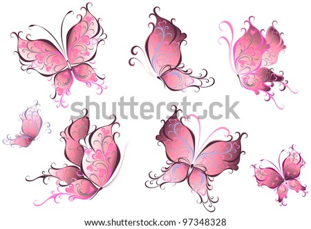 Set of pink butterflies isolated on a white background. - stock vector