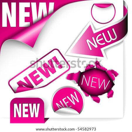 Set of pink elements for new items in eshop or on the web page - stock vector