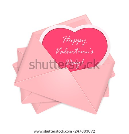 Set of pink envelopes with heart and Valentines congratulations, illustration. - stock vector
